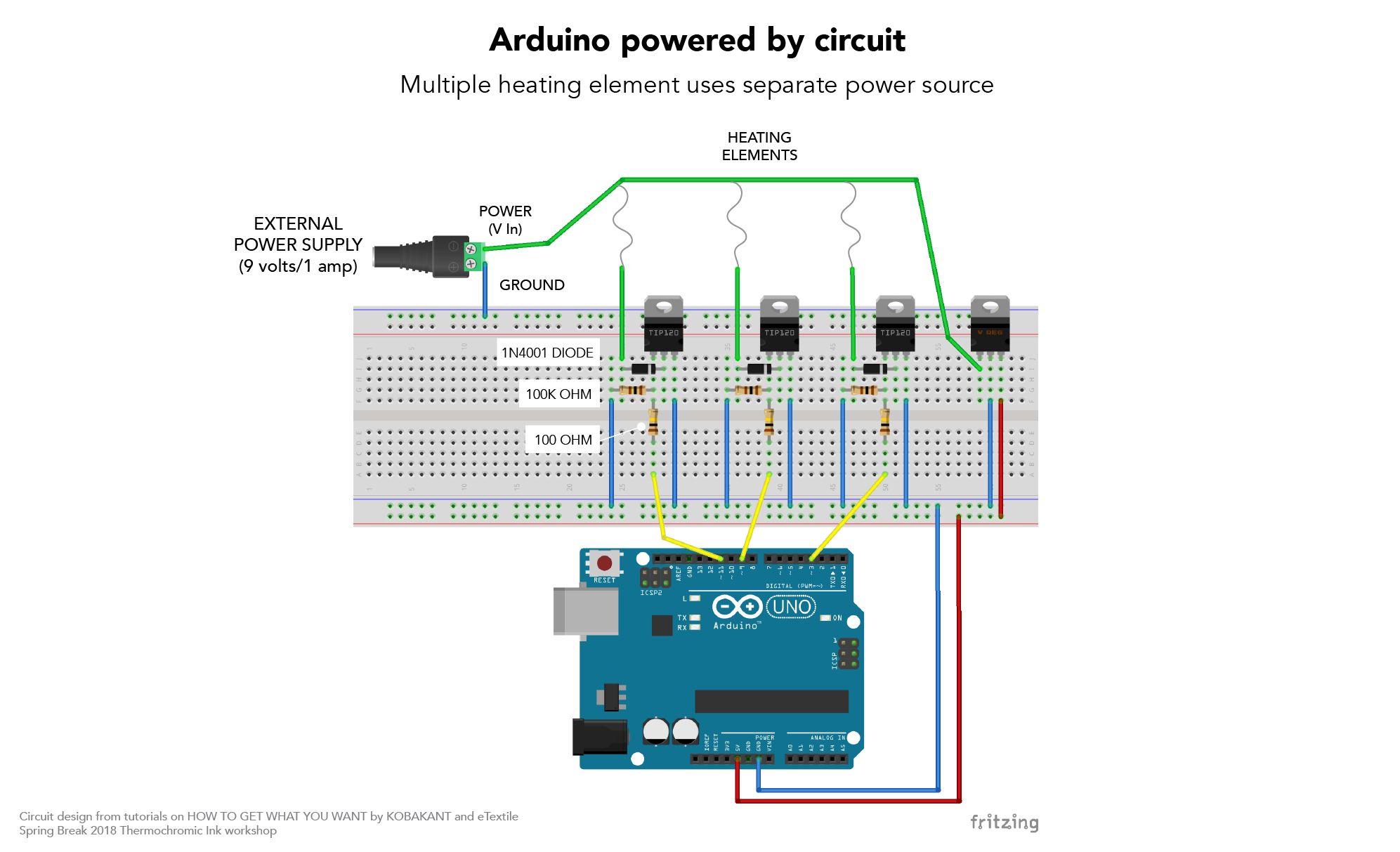Heating Circuits Physical Computing Circuit Diagram Of 9 Volt Power Supply This Uses A Tip 120 But You Can Also Use Mosfet Irlz34n Spbf They Have The Same Pinout